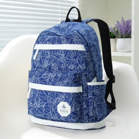 Durable Navy Blue Canvas with White Leather Trim Vogue Girls School Backpack Geometric Printed Sewing Pattern 14 Inch Laptop Bag