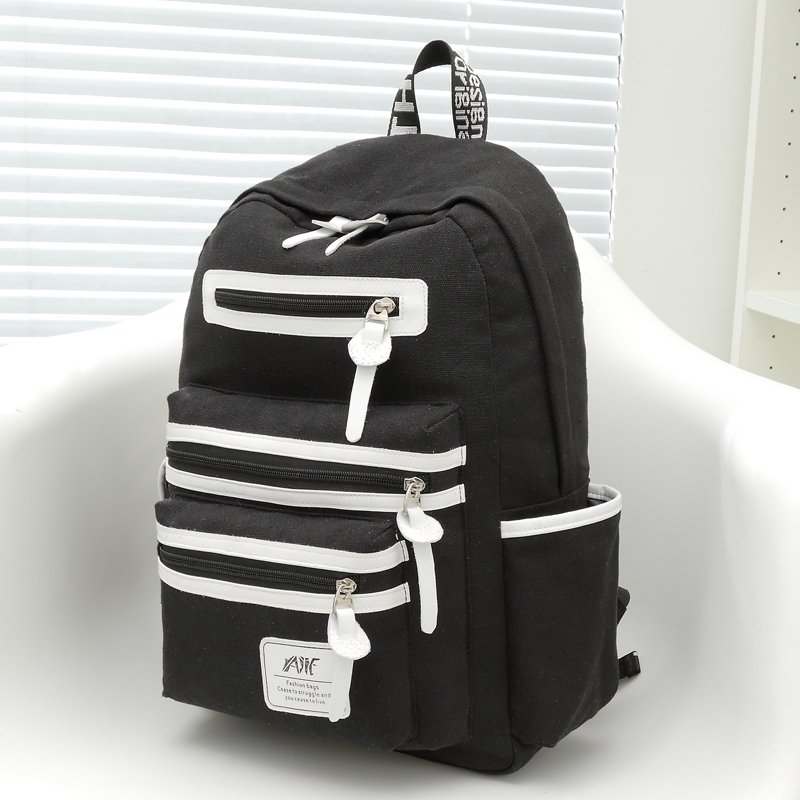 Black Canvas with White Leather Trim Color Blocking School Backpack Contracted Vogue Sewing Pattern Quilted 14 Inch Laptop Bag