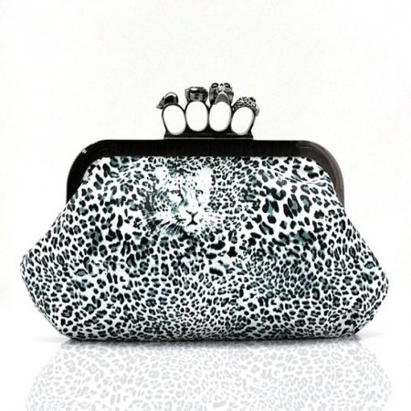 Black Blue and White Leopard Print Skull Magnet Buckle Ring Clutch Bag Elegant Socialite Faux Leather Women Party Evening Bag