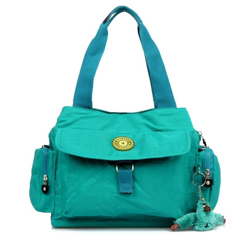 Solid Teal Colored Water-proof Nylon Crossbody Shoulder Bag Contracted Casual Women Dumpling-shaped Sewing Pattern Flap Purse