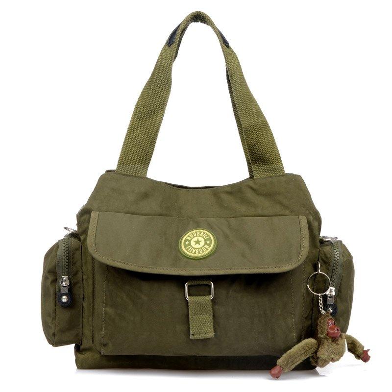 Solid Olive Green Water-proof Lightweight Nylon Dumpling-shaped Flap Tote Bag Sewing Pattern Casual Women Crossbody Shoulder Bag
