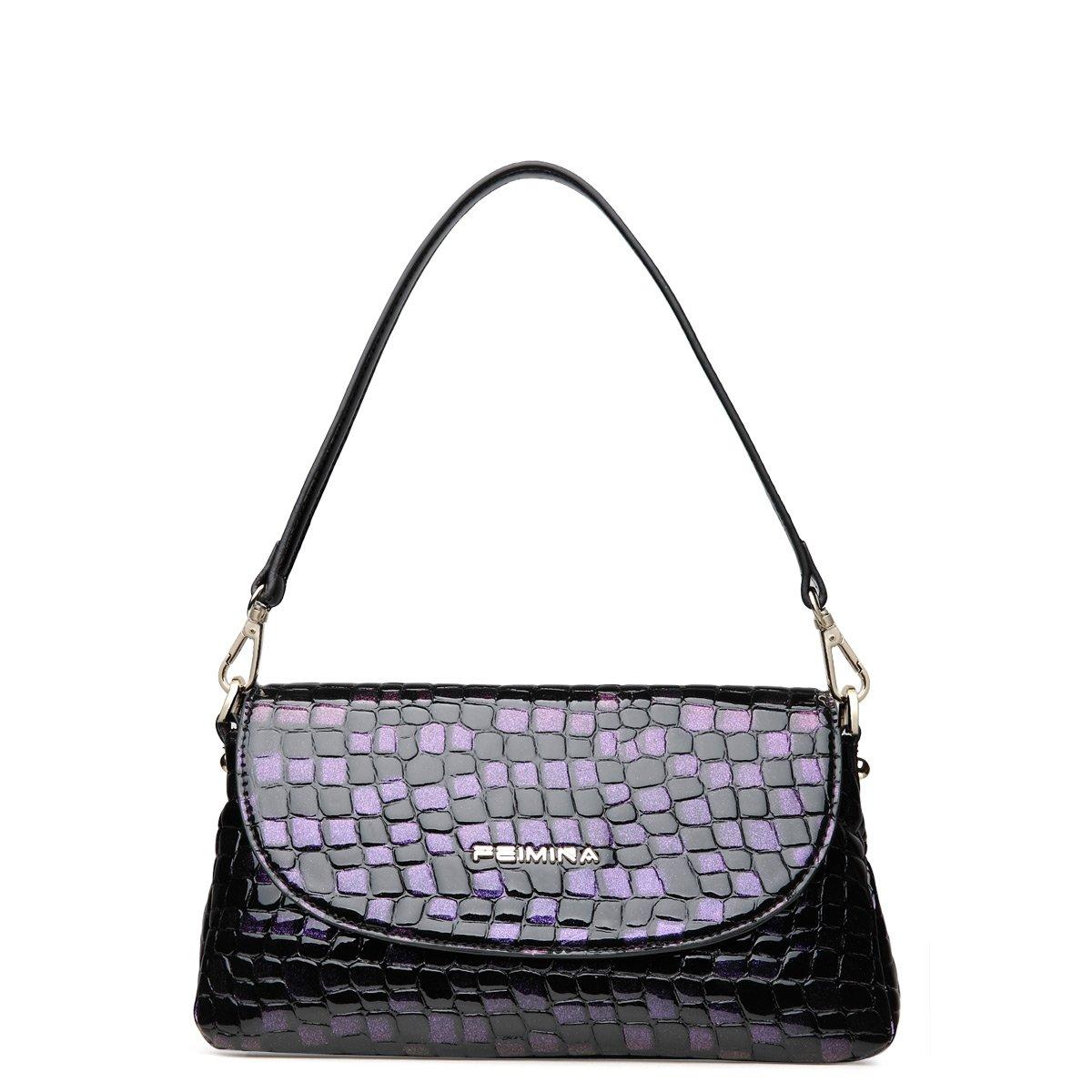 Black Purple Cowhide Genuine Leather Crocodile Envelope Baguette Bag Elegant Women Casual Party Small Crossbody Shoulder Flap Bag