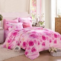 Hot Pink and Pale Pink Victorian Rose Cute Girly Themed Modern Chic 100% Organic Cotton Twin, Full Size Bedding Sets for Teen Girls