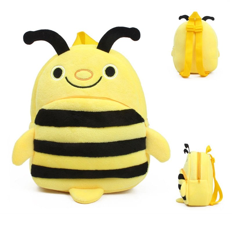 Personalized Bee-shaped with Rugby Stripe Toddler School Backpack Black Yellow Stylish Cute Animal Durable Cool Kids Small Book Bag