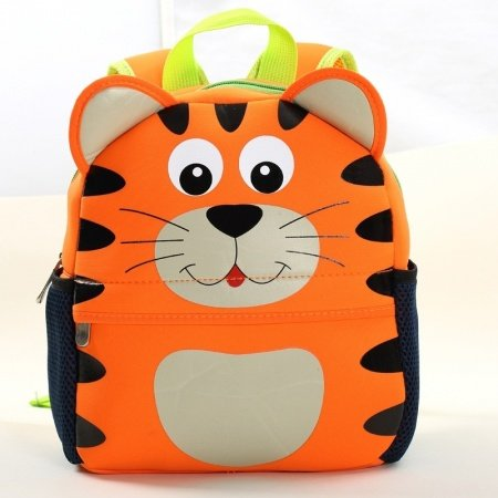 Personalized Cute Animal Giant Tiger Head-shaped Toddler Book Bag Orange Black Durable Kids Preppy School Backpack for Girls Boys
