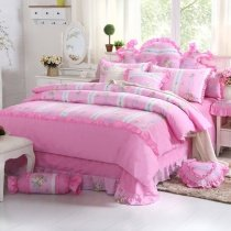 Little Girls Pink Princess Style Cute Girly Themed Ruffle Patchwork Pattern 100% Cotton Twin, Full, Queen Size Bedding Sets