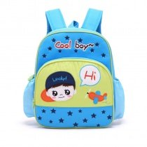 Personalized Cute Cartoon Boys Face with Star Plane Monogrammed Toddler Book Bag Blue Yellow Cotton Stylish School Backpack