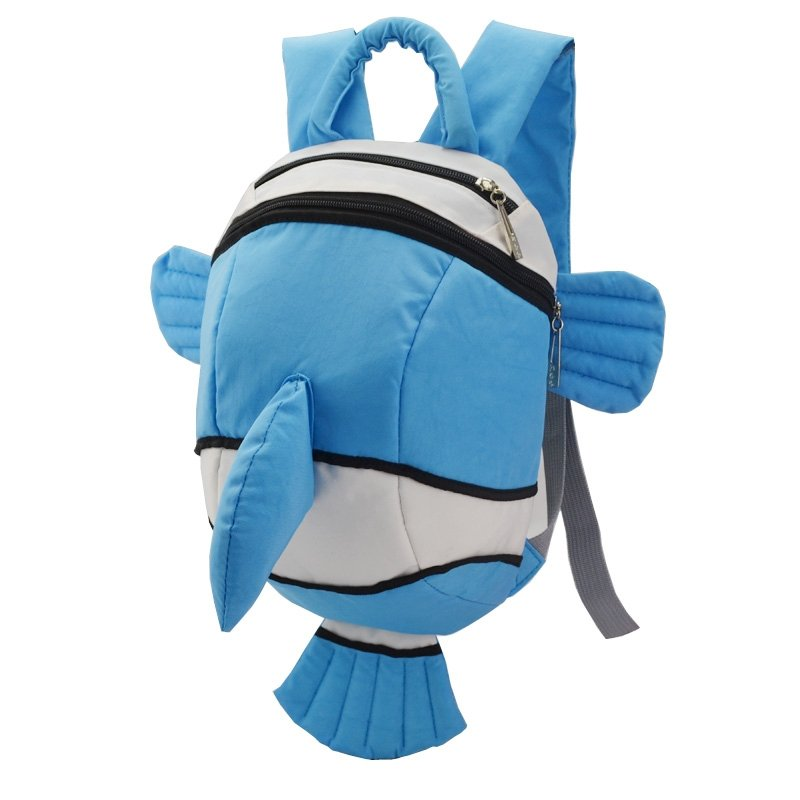 Personalized Cute Animal Dolphin Fish-shaped Toddler Book Bag Blue White Durable Stylish Kids Preppy School Backpack