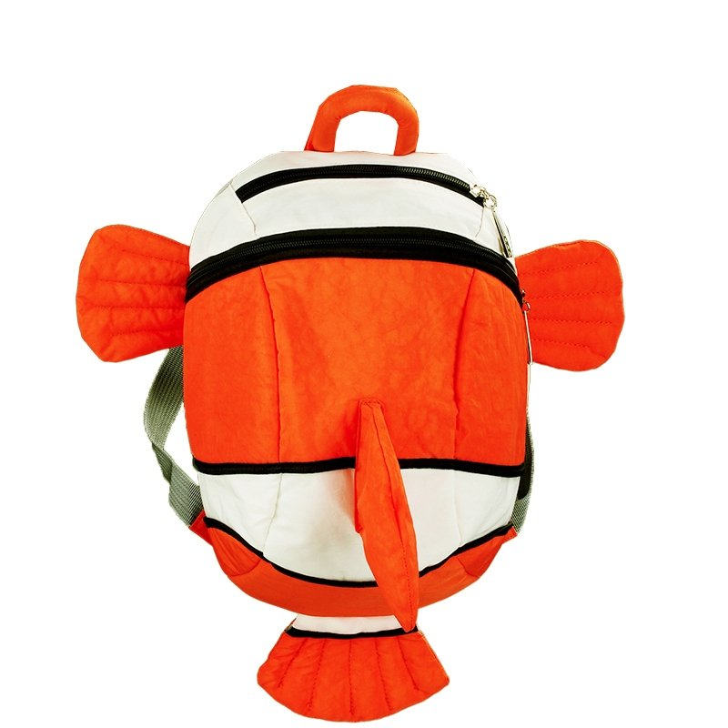 Personalized Dolphin Fish-shaped Stylish Animal Toddler Book Bag White Orange Color Blocking Durable Preppy Kids School Backpack