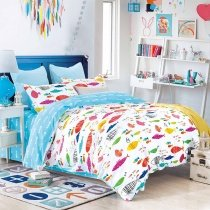 Aqua Purple and Orange Bright Colorful Fish Print Sea Life Reversible 100% Cotton Twin, Full, Queen Size Bedding Sets for Kids