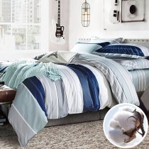 Navy Blue Gray and White Awning Stripe Print Modern Chic Masculine Style Soft 100% Organic Cotton Full, Queen Size Bedding Sets