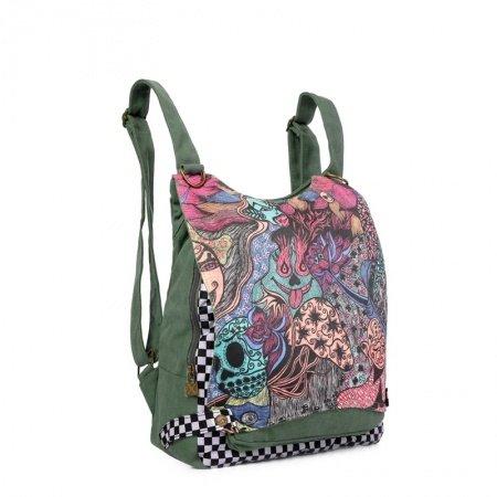 Personalized Bohemian Hippie Canvas Flap Travel Backpack Stylish Girls Preppy School Book Bag Checkered Tribal Print Crossbody Shoulder Bag