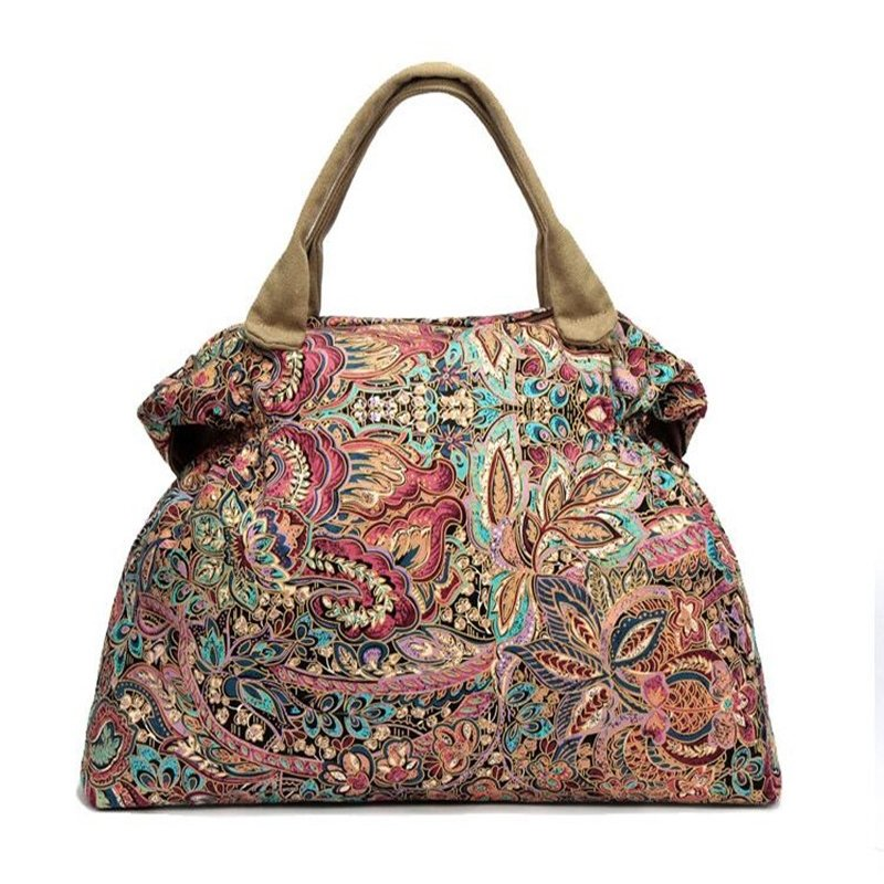Stylish Durable Colorful Canvas Elegant Women Large Crescent-shaped Hobo Bag Zipper Vintage Bohemian Western Floral Shoulder Tote Bag