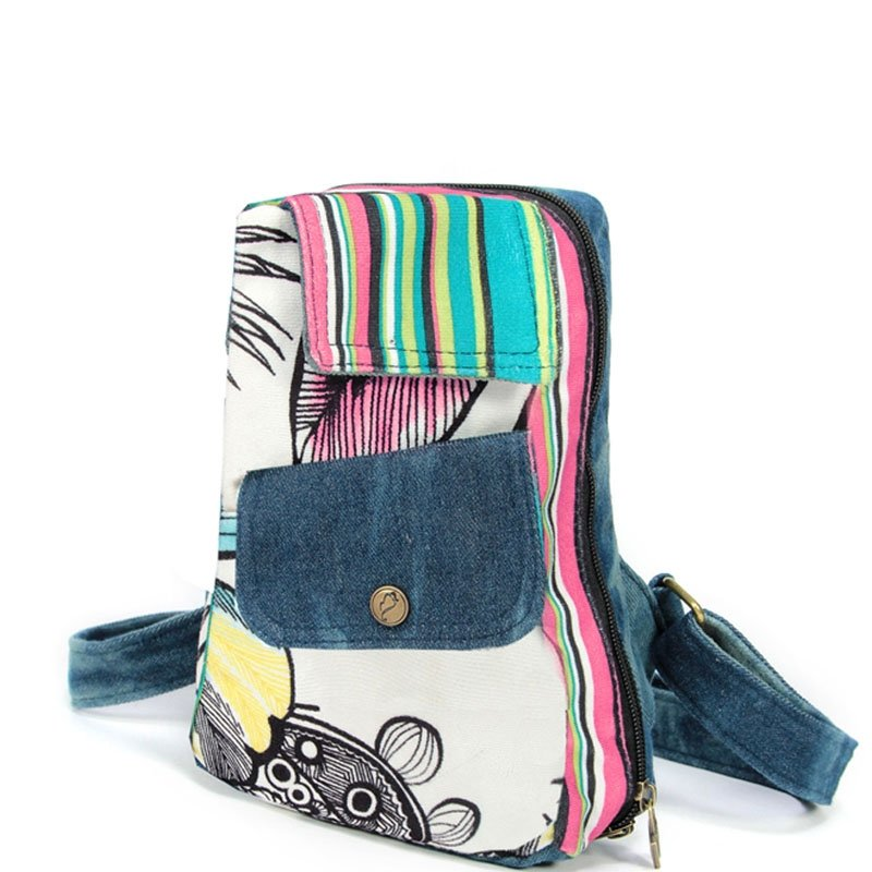Stylish Durable Jean Sewing Pattern Zipper Women Small Chest Crossbody Sling Bag Colorful Pinstripe Floral Print Casual Travel Bosom Bag