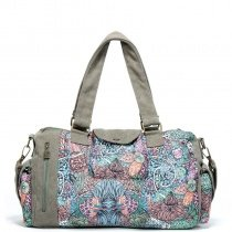 Taupe Canvas Duffle Bag Personalized Casual Lady Tote Bag Vintage Bohemian Western Colorful Floral Print Crossbody Shoulder Travel Bag