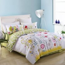 Bright Colorful Natural Flower Print Abstract Design Rustic Style Personalized 100% Cotton Damask Full, Queen Size Bedding Sets