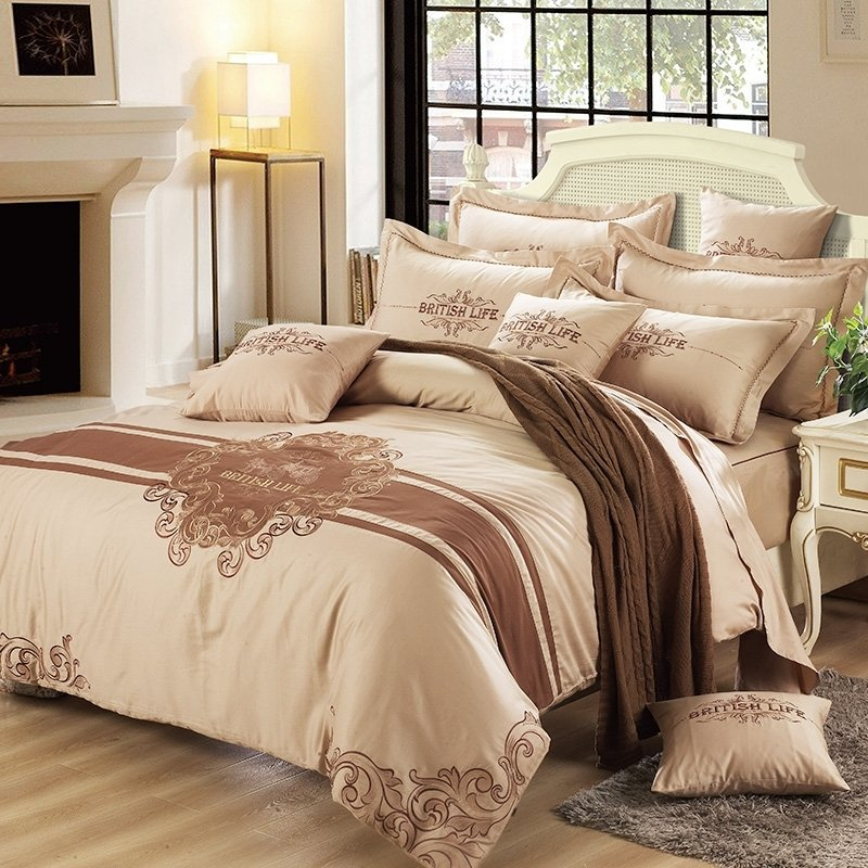Earth Yellow and Rust Orange Elizabethan Pattern Luxury European Style Embroidered 100% Cotton Damask Full, Queen Size Bedding Sets