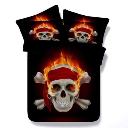 Black Flame and Grey Skull and Crossbones Print Punk Style Unique Twin, Full, Queen, King Size Bedding Sets for Teens