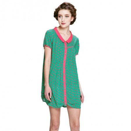 Green Red Polka Dots Viscose Fabric Cute Women Ruffled Lapel Short Sleeve Shirt Summer L XL XXL Casual Pajamas