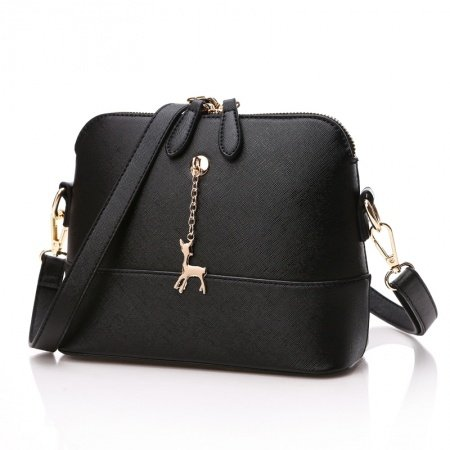 Stylish Solid Black Faux Leather Fine Sewing Pattern Feminine Women Simply Chic Casual Small Shell-shaped Crossbody Shoulder Bag