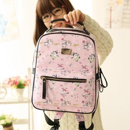 Durable Pink Faux Leather Girly Junior Preppy School Book Bag Cute Cartoon Hip-hop Style Dog and Fish Print Casual Travel Backpack