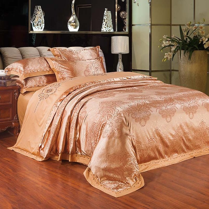 Luxury Rose Gold Ethnic Inspired Tribal Pattern Bohemian Style Embroidered Design Jacquard Satin Full, Queen Size Bedding Sets