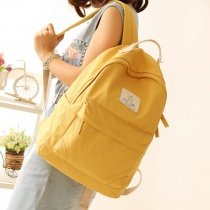 Durable Plain Amber Yellow Canvas Women Casual Hiking Travel Laptop Backpack Stylish Simply Chic Preppy Style Girls School Book Bag