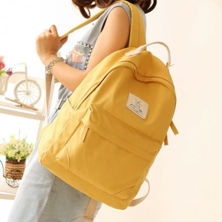Durable Plain Amber Yellow Canvas Women Casual Hiking