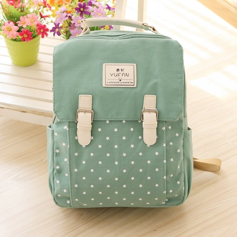 Durable Sage Green Canvas White Star Print Junior Preppy School Book Bag Stylish Simply Chic Casual Hiking Travel Flap Laptop Backpack
