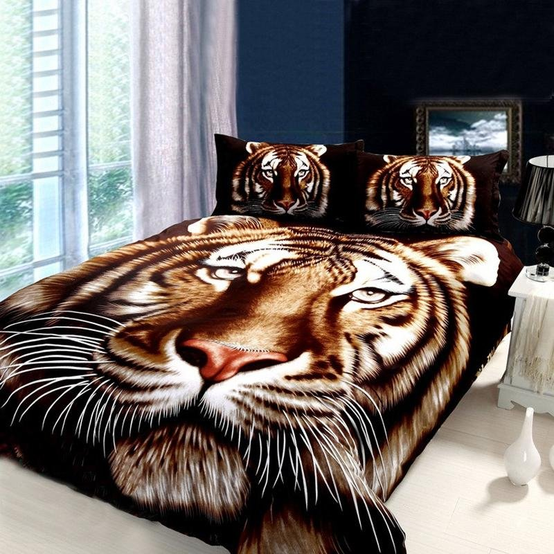 Leopard Print Themed Bedroom: Black Brown And White Animal Themed Tiger Print Jungle