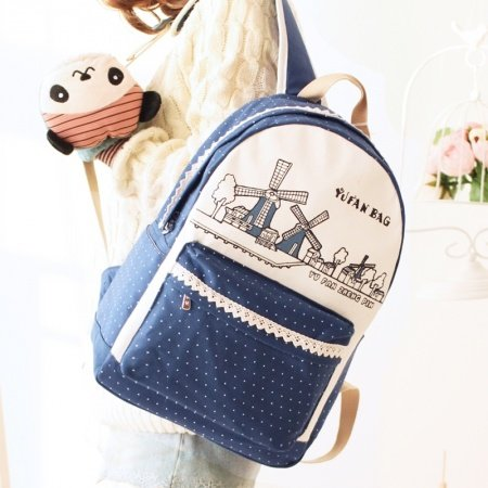 Durable Canvas Lace Girls Preppy School Book Bag Dark Blue Beige Vogue Windmill Polka Dot Personalized Travel 14 Inch Laptop Backpack