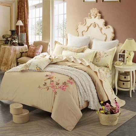 Cream and Beige Bird Design Flower Pattern Asian Country Oriental Style Embroidered Design 100% Cotton Damask Full, Queen Size Bedding Sets