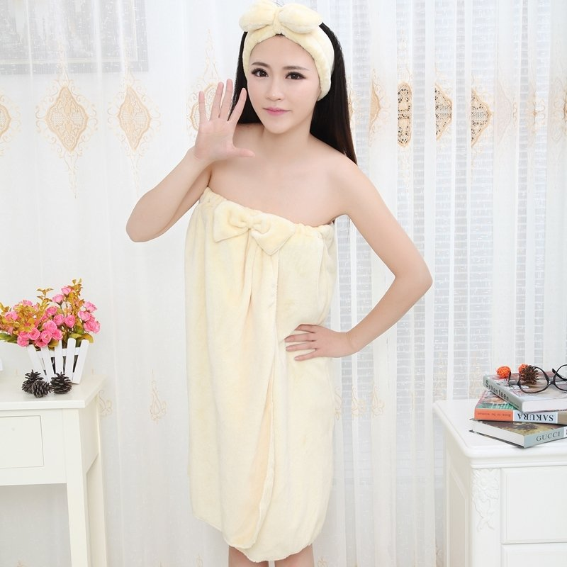 Plain Beige Spa Sexy Contracted 1 Piece Bathrobe Robe Strapless Chest Wrap Flannel Adult Women Spring Autumn Pajamas