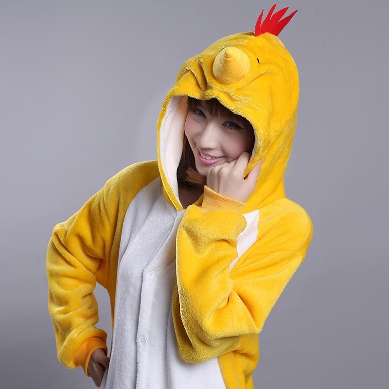 Cock Rooster Animal Anime Cartoon Cosplay Rompers Onesies Hooded Halloween Christmas Costume Unisex Polyester Winter Pajamas