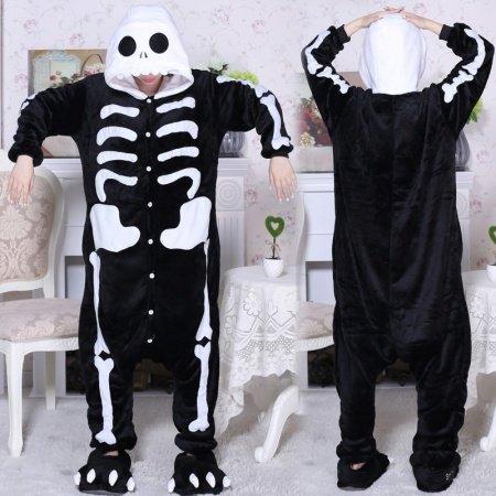 100% Polyester Skeleton Skull Pajamas All in One Pyjama Men Women Autumn Winter Cartoon Onesies Pajamas Toileting Version