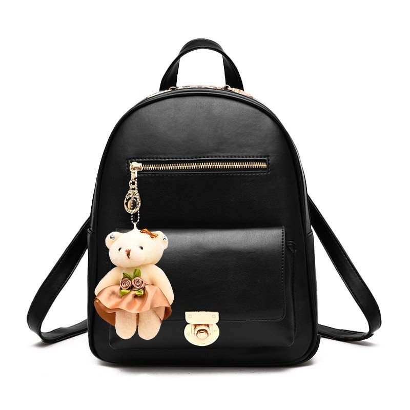 Durable Solid Black Faux Leather with Keychain Women Small Casual Travel Backpack Trend Sewing Pattern Stylish Preppy School Book Bag