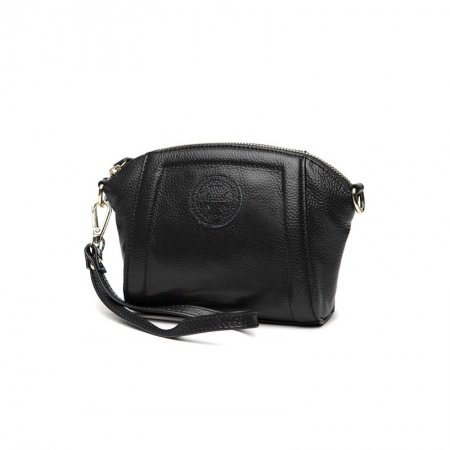 Durable Solid Black Genuine Cowhide Leather Lady Evening Party Clutch Wristlet Trend Sewing Pattern Small Shell Crossbody Shoulder Bag