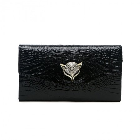 Black Cowhide Leather Bling Rhinestone Women Evening Party Flap Envelope Clutch Hipster Embossed Crocodile Fox Head  Crossbody Shoulder Bag