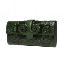 Stylish Dark Green Genuine Cowhide Leather Women Evening Party Clutch Vintage Bohemian Embossed Floral Magnet Buckle Small Flap Wallet