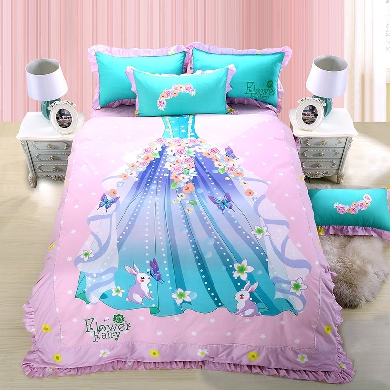 Girls Pale Pink Turquoise and Blue Princess Dress Print Stylish Personalized Ruched Edge 100% Cotton Damask Twin, Full Size Bedding Sets