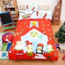 Red Black White Light and Blue Christmas Holiday Themed Modern Chic Western Style 100% Cotton Twin, Full Size Bedding Sets for Kids