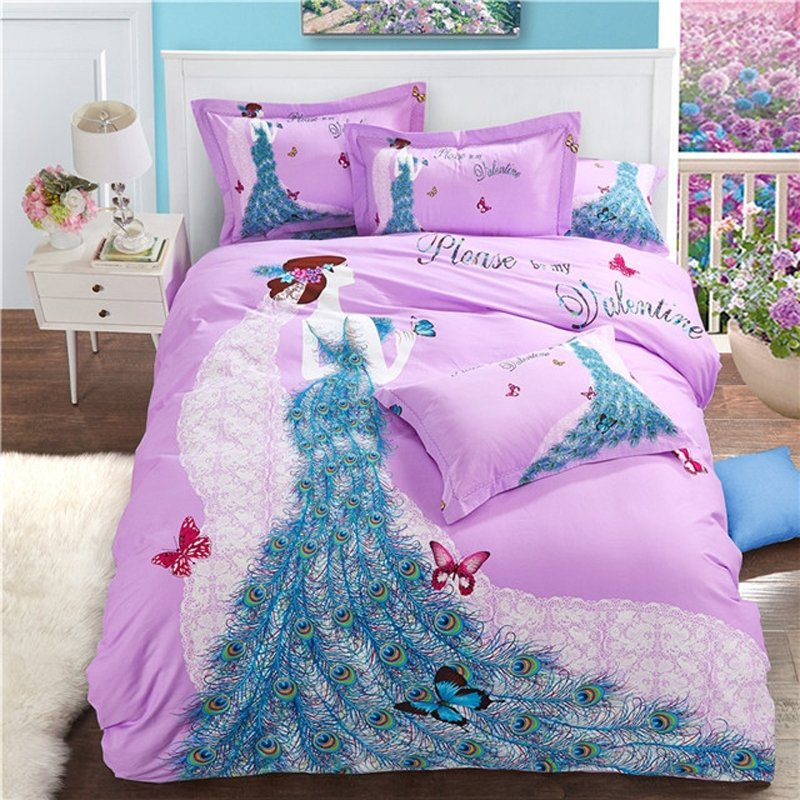 Girls Peacock Blue Lavender Purple and White Princess and Butterfly Print Cute Style Sexy 100% Brushed Cotton Full, Queen Size Bedding Sets