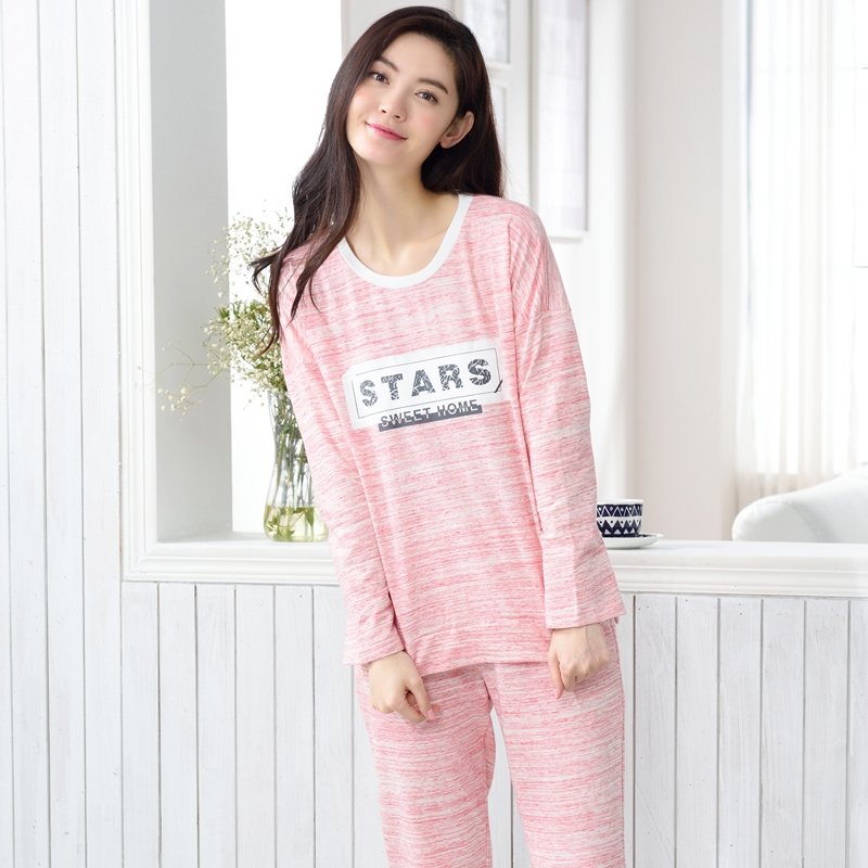 Coral Letters Print 100% Cotton 2pc Contracted Autumn Winter Pajamas for Girls Lady