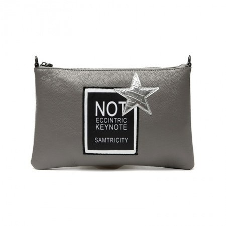 Durable Gray Genuine Cowhide Leather Lady Party Envelope Evening Clutch Wristlet Unique Monogrammed Star Small Crossbody Shoulder Bag