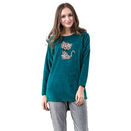 Turquoise Green Animal Cheetah Print Long Sleeve Autumn Winter Contracted 2pc Shirt and Ninth Pants Pajamas for Girls