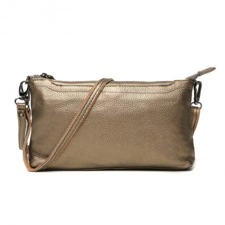 Durable Champagne Gold Genuine Cowhide Leather Lady Casual Party Evening Clutch Gorgeous Sewing Pattern Simply Chic Crossbody Shoulder Bag