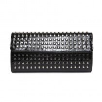 Durable Black Patent Leather Rivet Studded Casual Party Evening Clutch Unique Embossed Crocodile Women Small Flap Crossbody Shoulder Bag
