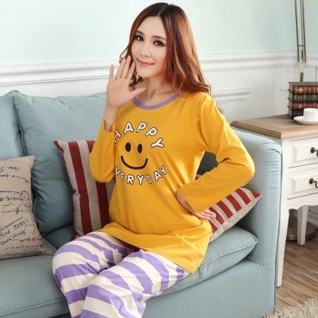 Amber Smiling Face Emoji Print Shirt and Purple Stripe Trousers Cute Fashion Pajamas for Girls