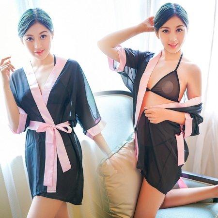 Black Kimono Style Deep V Waist Tie Nightdress with Pink Edge 100% Polyamide Chiffon Free Size Pajamas for Women
