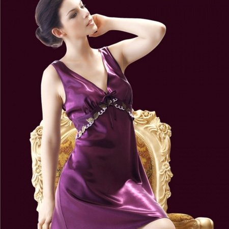 Deep Purple Flower Midi Camisole Dress Romantic Fashion Summer Pajamas for Girls M L XL XXL XXXL